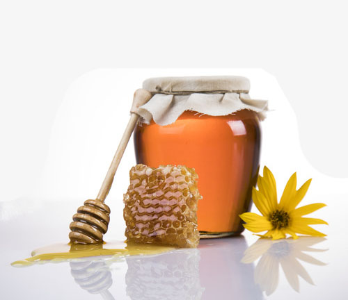 Valley View Farm, honey dipper, honeycomb and jar of honey with wildflower